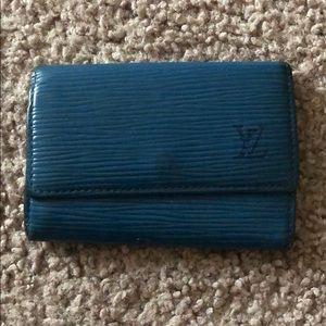 Louis Vuitton Blue Epi Leather 4-Key Holder - Auth